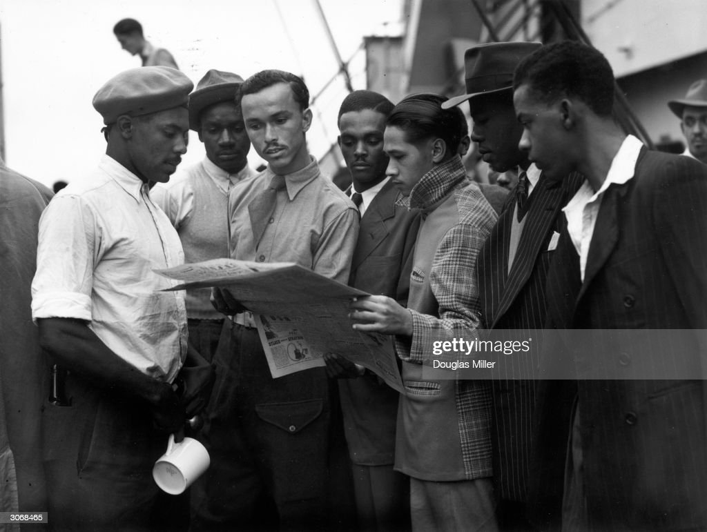 Newly arrived Jamaican immigrants on board the 'Empire Windrush' at Tilbury.