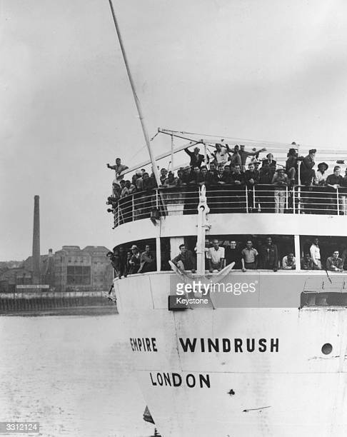 The extroopship 'Empire Windrush' arriving at Tilbury Docks from Jamaica with 482 Jamaicans on board emigrating to Britain