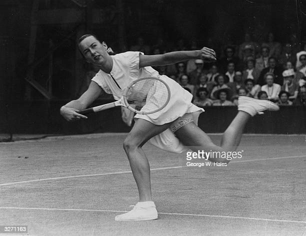 American tennis player Gertrude Moran or Gorgeous Gussie in action on her way to beating F M Wilford at Wimbledon