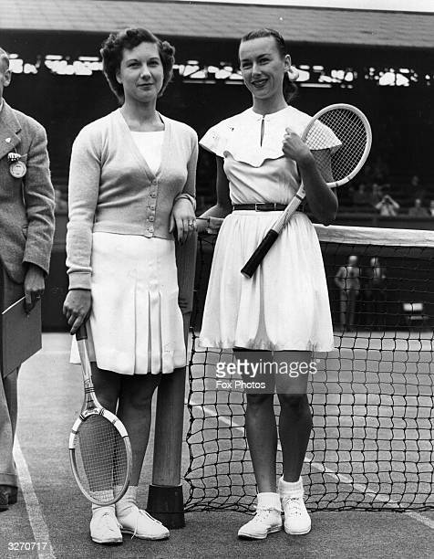 US tennis player Gertrude 'Gussie' Moran and her British opponent Wilford on court before their match
