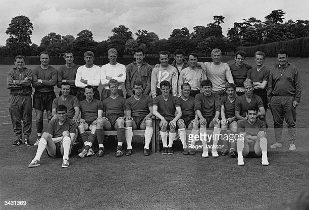 The England World Cup squad before leaving for a pre-tournament tour in Europe, Les Cocker , George Cohen, Gerry Byrne, Roger Hunt, Ron Flowers,...