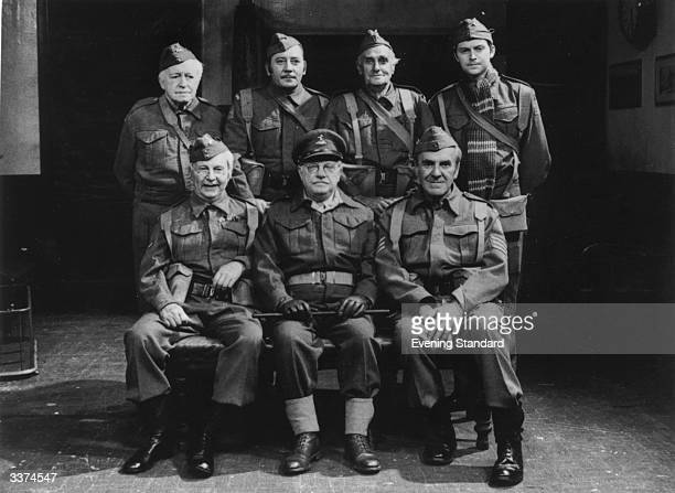 Characters from the popular TV series 'Dad's Army' Seated left to right Clive Dunn as Corporal Jones Arthur Lowe as Captain Mainwaring and John Le...