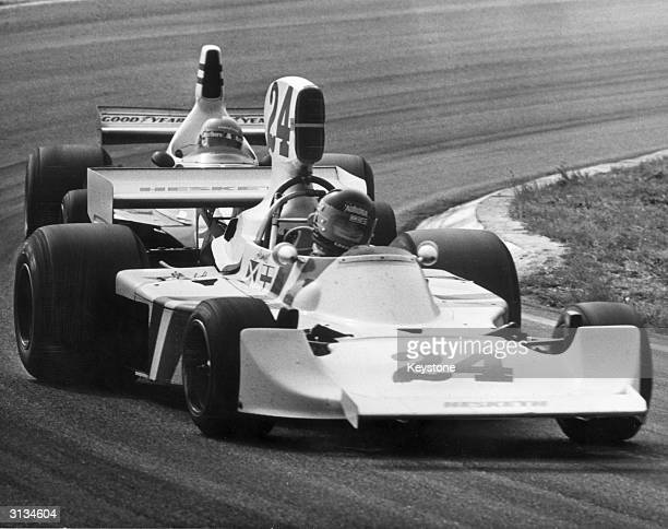 James Hunt closely followed by Niki Lauda on the last lap of the Dutch Grand Prix at Zandvoort Hunt won the race
