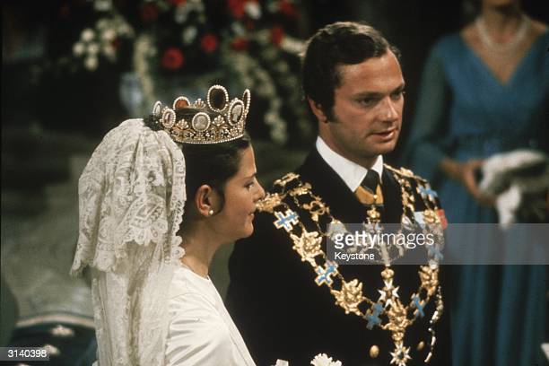 King Carl Gustav of Sweden at his marriage to Silvia Sommerlath in Stockholm cathedral