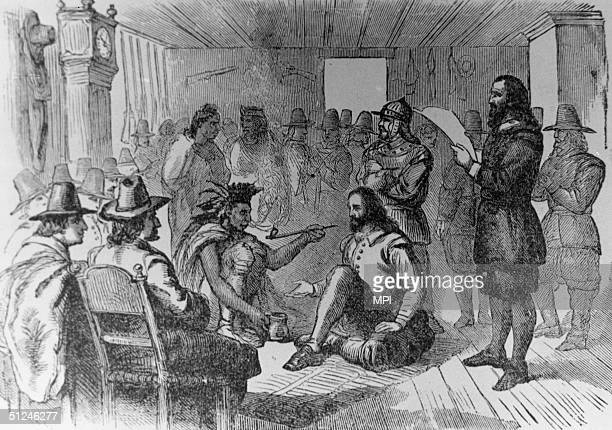 22nd March 1621 Massasoit or Ousamequin chief of the Wampanoag of Massachusetts and Rhode Island signs the earliest recorded treaty in New England...
