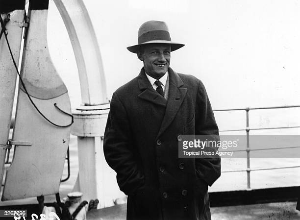 Australian cricketer Don Bradman aboard ship on arrival with the team at Southampton. Sir Donald Bradman was the first cricketer to be knighted in...