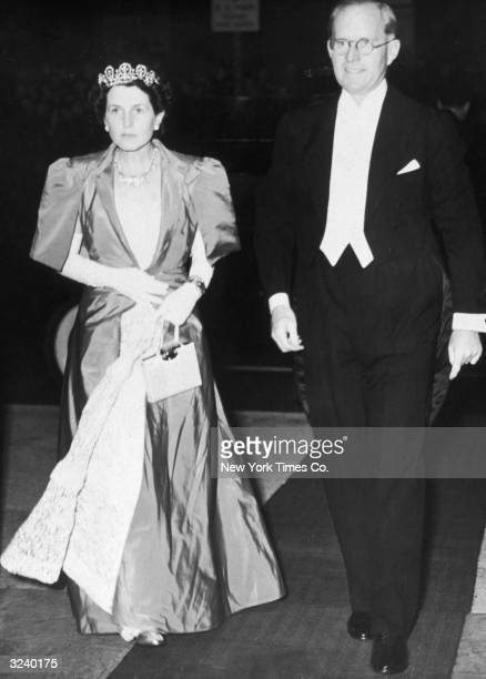 American ambassador to Great Britain Joseph P Kennedy and his wife Rose Kennedy arrive at Covent Garden Opera House London Rose wears a satin gown...