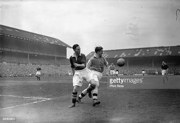 Goring of Arsenal and Winter of Chelsea in action during the FA Cup semifinal game at White Hart Lane Tottenham north London
