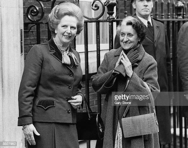 British prime minister Margaret Thatcher with the Indian prime minister Indira Gandhi outside number 10 Downing Street