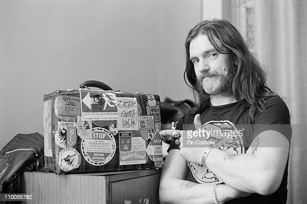 22nd MARCH: Lemmy Kilmister from Motorhead points to a tour case backstage at City Hall in Newcastle, England on March 22nd 1982.