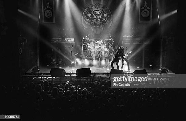 Motorhead perform live on stage at City hall in Newcastle England on March 22nd 1982 Left to Right Phil Taylor Lemmy Kilmister Eddie Clarke