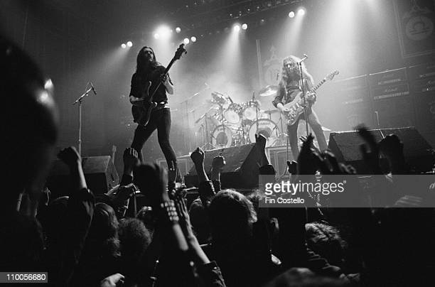 Motorhead perform live on stage at City hall in Newcastle England on March 22nd 1982 Left to Right Lemmy Kilmister Phil Taylor Eddie Clarke