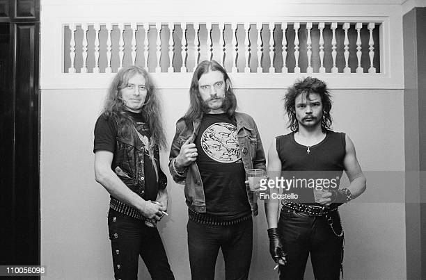 Motorhead posed backstage at City Hall in Newcastle on March 22nd 1982 Left to Right Fast Eddie Clarke Lemmy Kilmister Phil 'Philthy Animal' Taylor