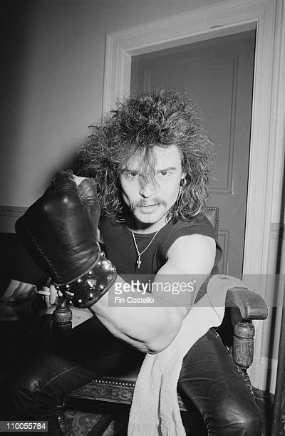 Phil 'Philthy Animal' Taylor from Motorhead clenches his fist backstage at City Hall in Newcastle England on March 22nd 1982