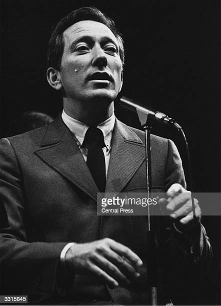 American vocalist Andy Williams rehearsing at the Royal Albert Hall for a series of three concerts with the Henry Mancini Concert Orchestra