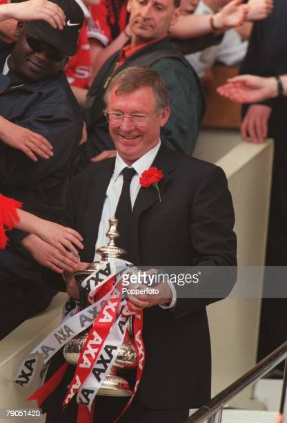 22nd May 1999 FA Cup Final Wembley Manchester United 2 v Newcastle United 0 Manchester United Manager Alex Ferguson with the FA Cup TROPHY