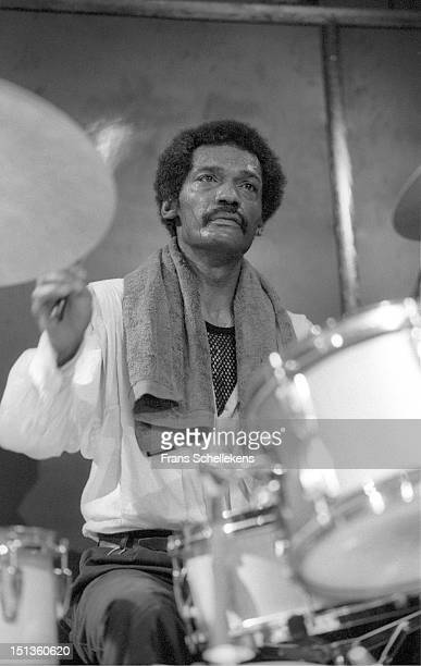 22nd MAY: American jazz drummer Clifford Jarvis performs live on stage at the BIM Huis in Amsterdam, Netherlands on 22nd May 1987.