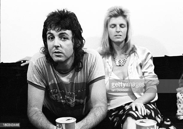 English musician Paul McCartney and his wife Linda McCartney from Wings posed backstage at Newcastle City Hall in England on 22nd May 1973