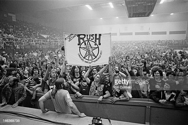 Interior view of the McMorran Arena auditorium in Port Huron USA showing fans cheering before a performance by the Canadian band Rush during their...