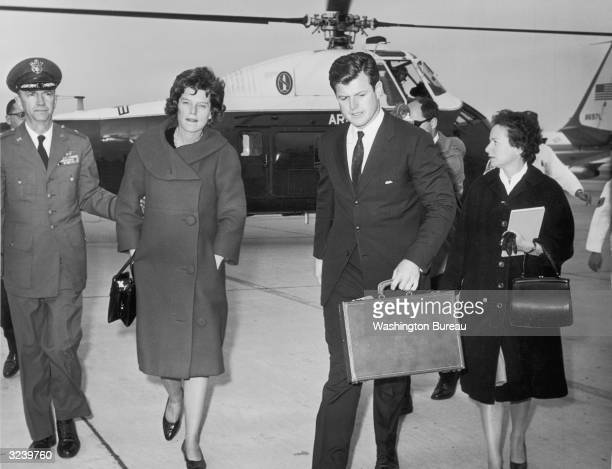 Senator Edward Kennedy and his sister, Eunice Kennedy Shriver, arrive at Andrews Air Force Base via helicopter after the assassination of their...