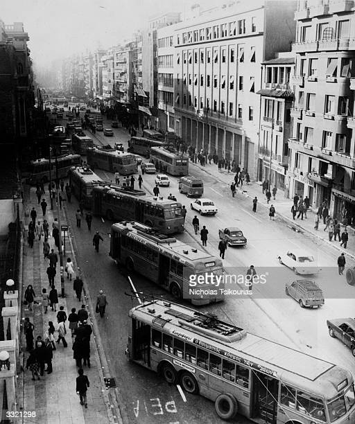 Buses being used as barricades by students demonstrating at Athens during street battles in the coup of November 1973 which ousted Colonel...