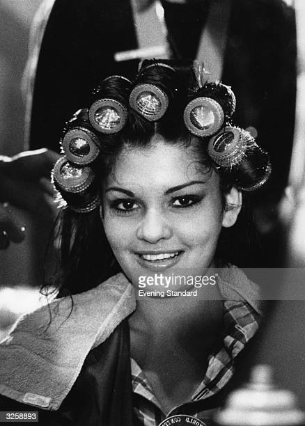 Miss Venezuela prepares for the Miss World contest by visiting Dorothy Grays Salon in Conduit Street London for a new hairstyle.