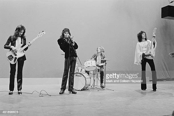 22nd NOVEMBER: John Deacon, Freddie Mercury , Roger Taylor and Brian May from Queen perform on the set of the Dutch TV show TopPop on 22nd November...