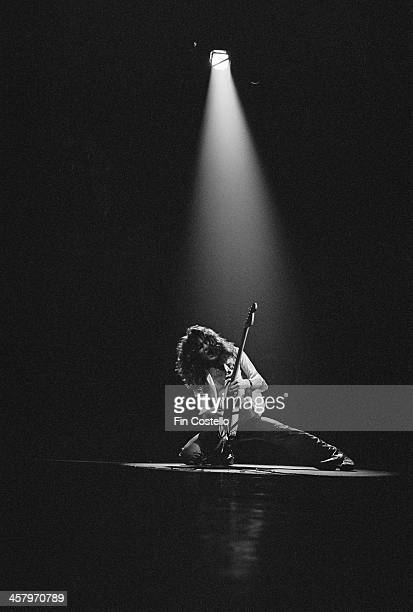 Eddie Van Halen from American rock group Van Halen performs live on stage at the Rainbow Theatre in Finsbury Park London on 22nd October 1978