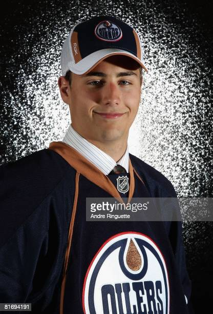 22nd overall pick Jordan Eberle of the Edmonton Oilers poses for a portrait at the 2008 NHL Entry Draft at Scotiabank Place on June 20 2008 in Ottawa...