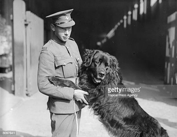A soldier with 'Sable Chief' the regimental mascot of the Newfoundland band in London