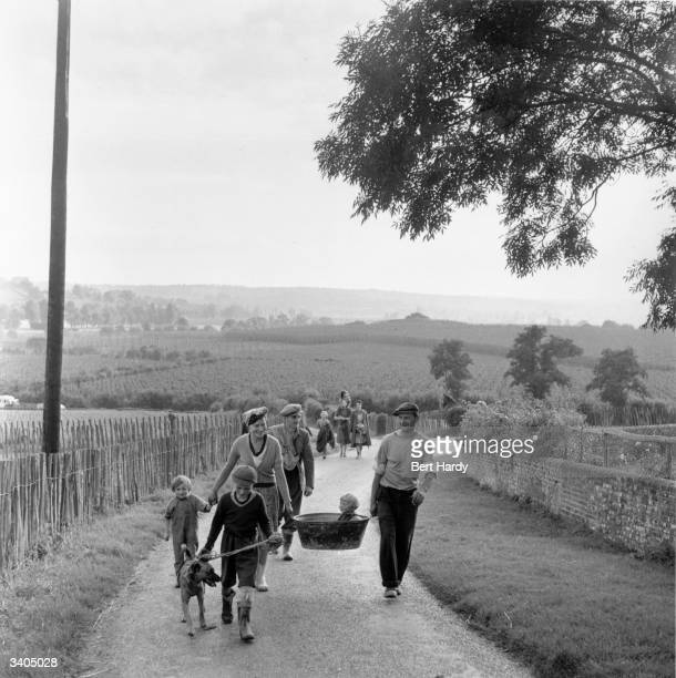 A baby being carried to a farm for a seasonal hop picking holiday in the Kent countryside Original Publication Picture Post 5413 Hopping Holiday pub...