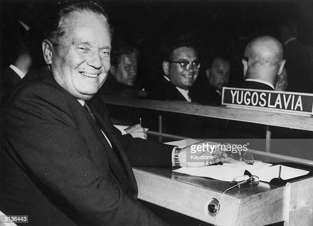 Yugoslav statesman and president Marshal Tito attending a UN General Assembly in New York as leader of his country's delegation