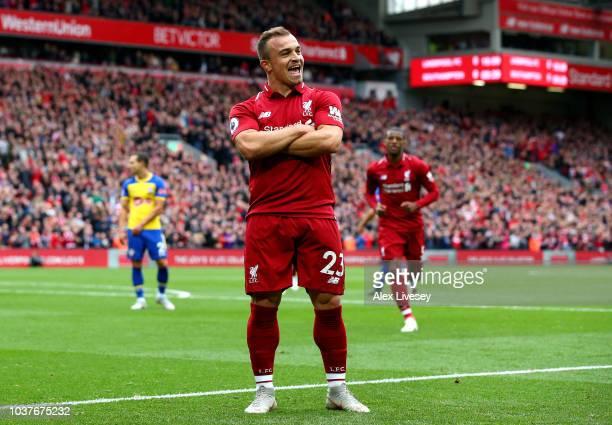 22nd September 2018 Anfield Liverpool England EPL Premier League football Liverpool versus Southampton Jurgen Klopp Liverpool manager and Virgil van...