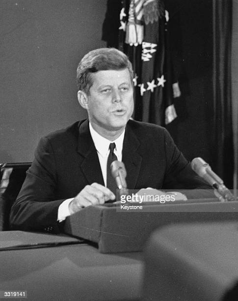 American president John F Kennedy making his dramatic television broadcast to announce the Cuba blockade during the Cuban Missile Crisis