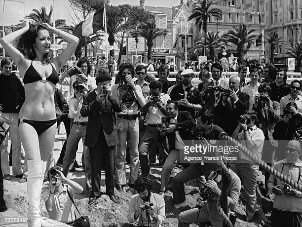 22yearold starlet Christine Casalonga poses for the photographers at Cannes during the film festival 18th May 1971