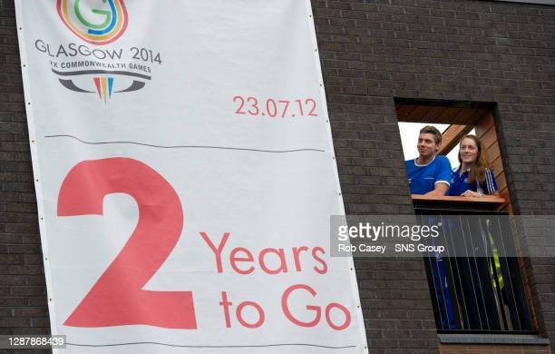"Scottish long-jumper Jade Nimmo and swimmer Ross Muir are shown around the site of the Athletes' Village in Glasgow's East End to mark exactly ""Two..."