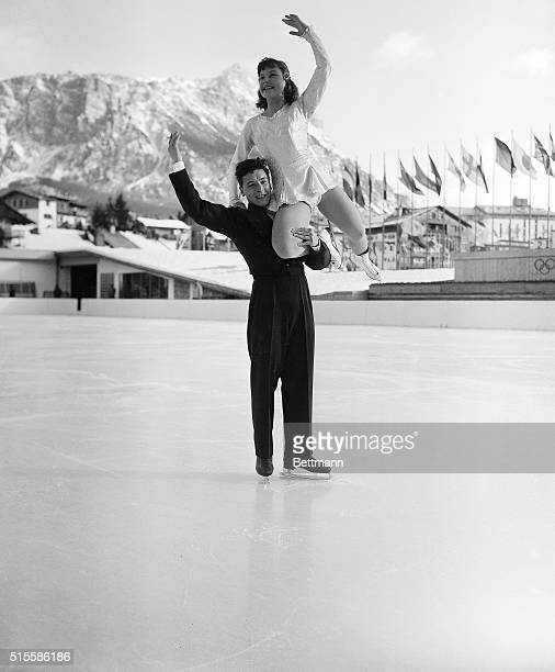 2/3/1956Cortina D'Ampezzo Italy Viennese skaters Elisabeth Schwarz and Kurt Oppelt are shown during their winning performance of the Olympic pair...