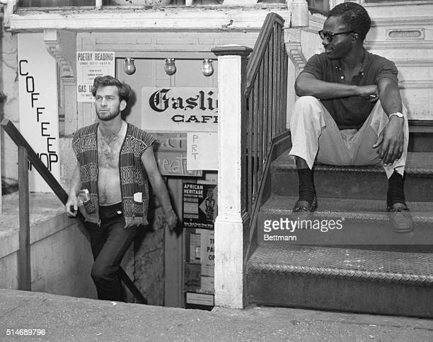 In the world of the beatnik Dick Woods walks up the steps of the Gaslight Coffee Shop in New York's Greenwich Village Long a setting for various...