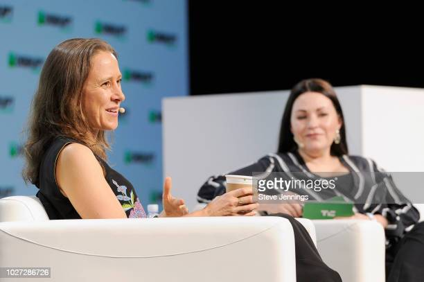 23andMe CEO Anne Wojcicki and moderator Sarah Buhr speak onstage during Day 1 of TechCrunch Disrupt SF 2018 at Moscone Center on September 5 2018 in...