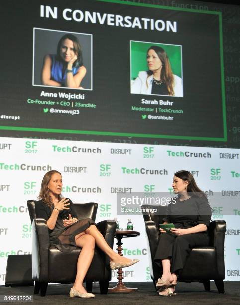 23andMe CoFounder and CEO Anne Wojcicki and TechCrunch moderator Sarah Buhr speak onstage during TechCrunch Disrupt SF 2017 at Pier 48 on September...