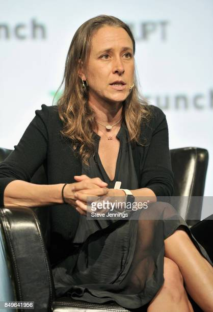 23andMe CoFounder and CEO Anne Wojcicki speaks onstage during TechCrunch Disrupt SF 2017 at Pier 48 on September 19 2017 in San Francisco California