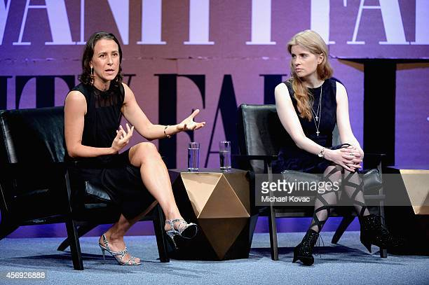 23andMe CoFounder Anne Wojcicki and Stanford Center on Philanthropy and Civil Society Founder and Chairman Laura ArrillagaAndreessen speak onstage...