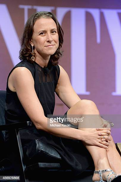 """23andMe Co-Founder Anne Wojcicki speaks onstage during """"A New Vision for Philanthropy"""" at the Vanity Fair New Establishment Summit at Yerba Buena..."""