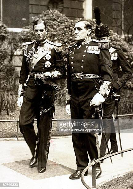 23rd April 1936 England The Duke of Kent with Admiral Bromley pictured leaving a StPaul's Cathedral London memorial service