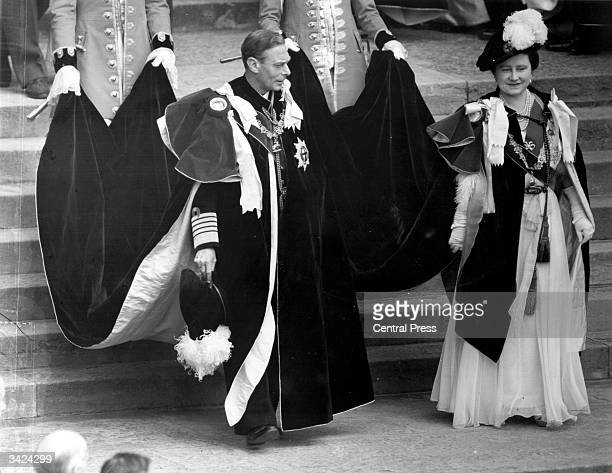 King George VI and Queen Elizabeth in full regalia during the 600th anniversary of the Order of the Garter ceremony at Windsor Castle Berkshire