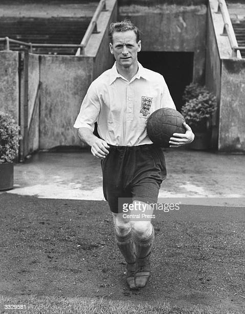 Tom Finney captain of Preston North End who are to play West Bromwich Albion in the 1954 FA Cup Final wearing the England shirt he played in against...