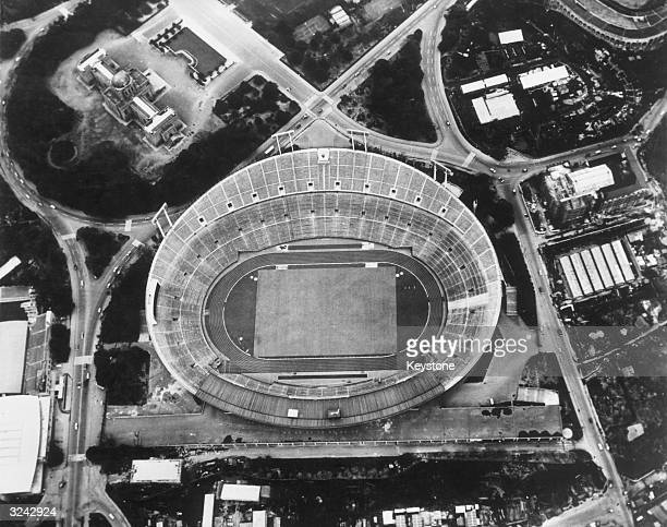 The National Stadium in Meiji Park where 72,000 spectators will watch the opening and closing ceremonies of the 1964 Tokyo Olympics.