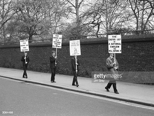 Demonstrators promote the wearing of the Easter Lily as a national emblem commemorating the Easter Rising on Easter Day outside the Irish Embassy in...