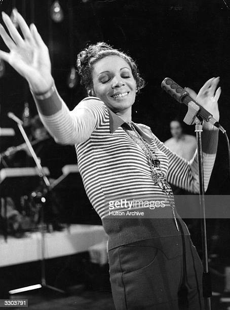 Singer Shirley Bassey enjoys performing a song for a German television programme