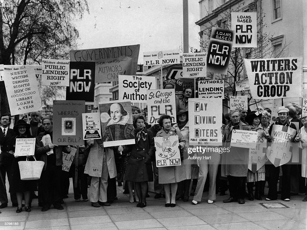 Writers protest for Public Lending Right fees at libraries.